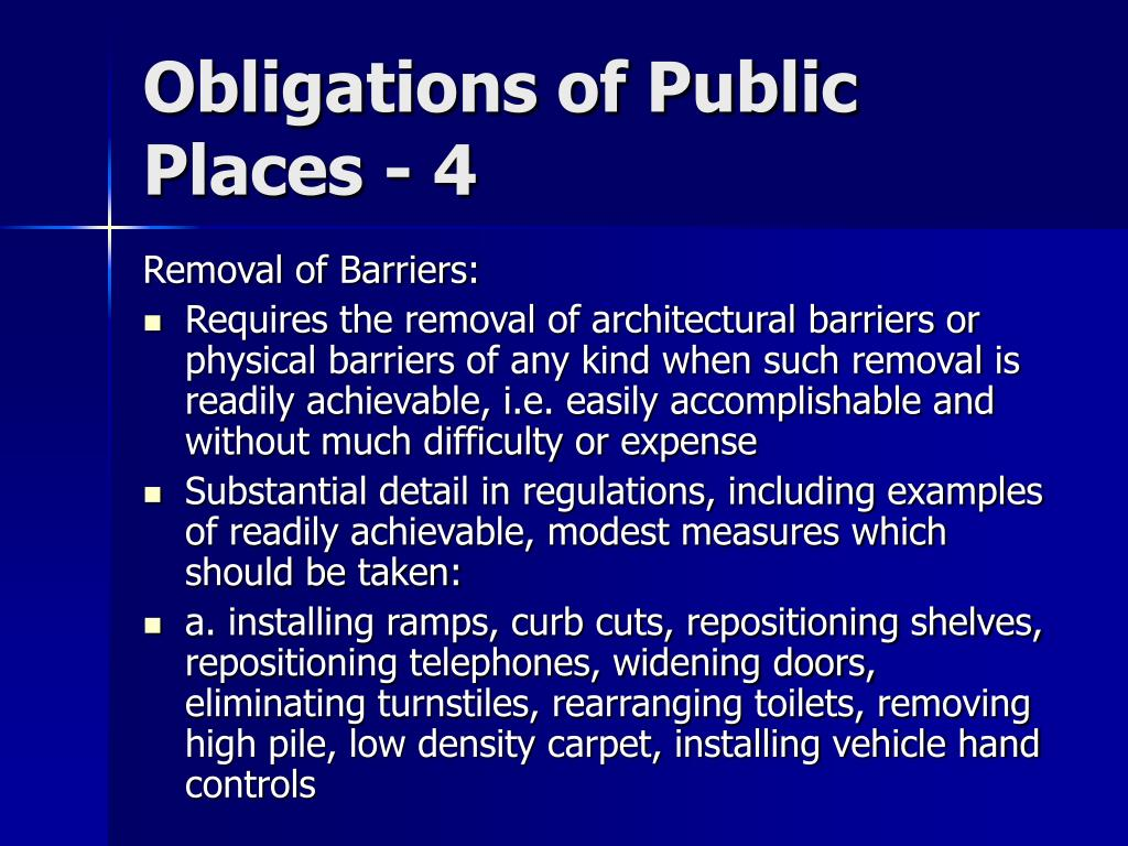 Obligations of Public Places - 4