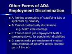 other forms of ada employment discrimination