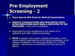 pre employment screening 2