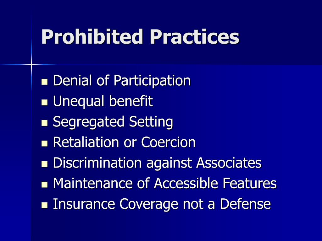 Prohibited Practices