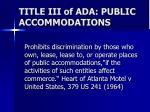 title iii of ada public accommodations