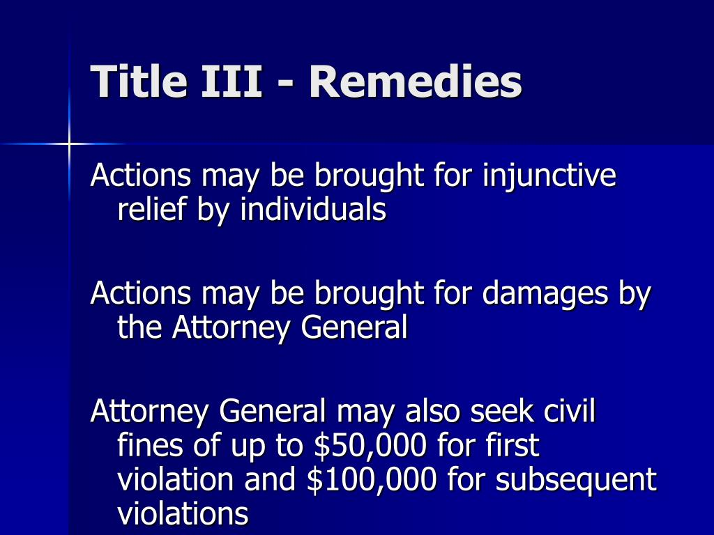 Title III - Remedies
