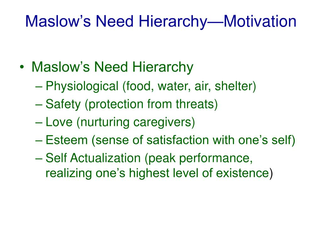 Maslow's Need Hierarchy—Motivation