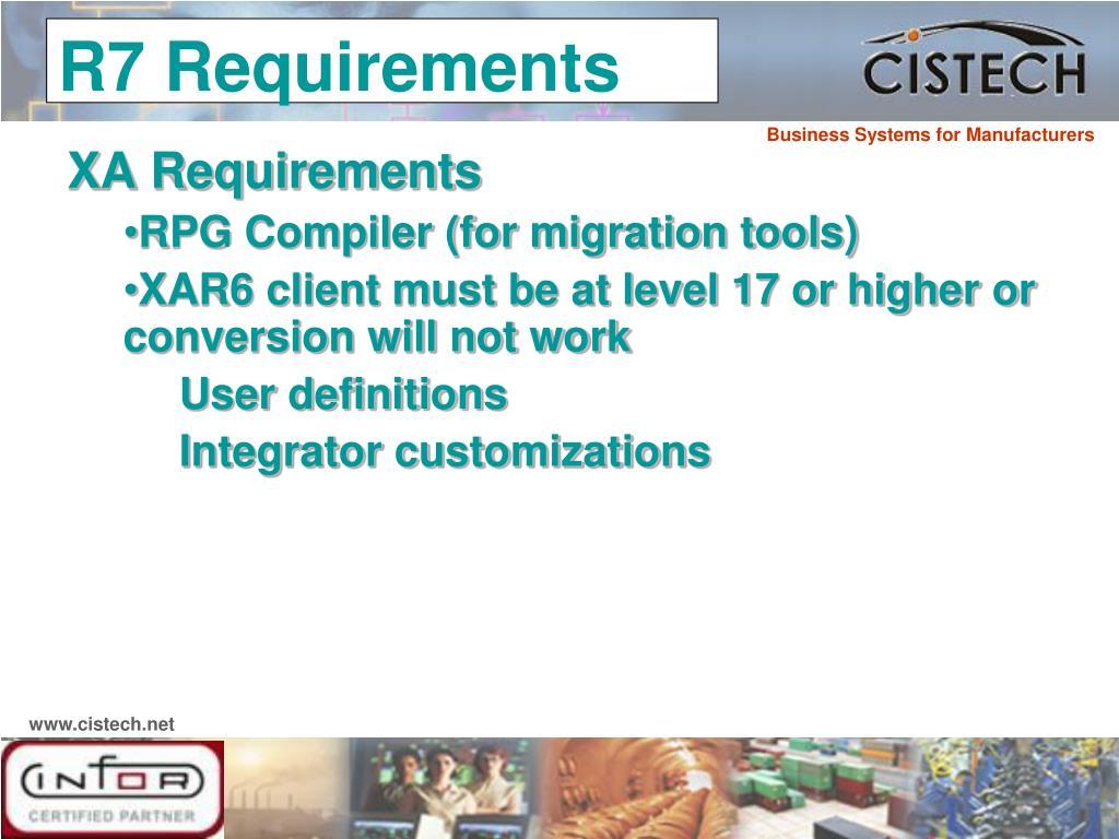 XA Requirements