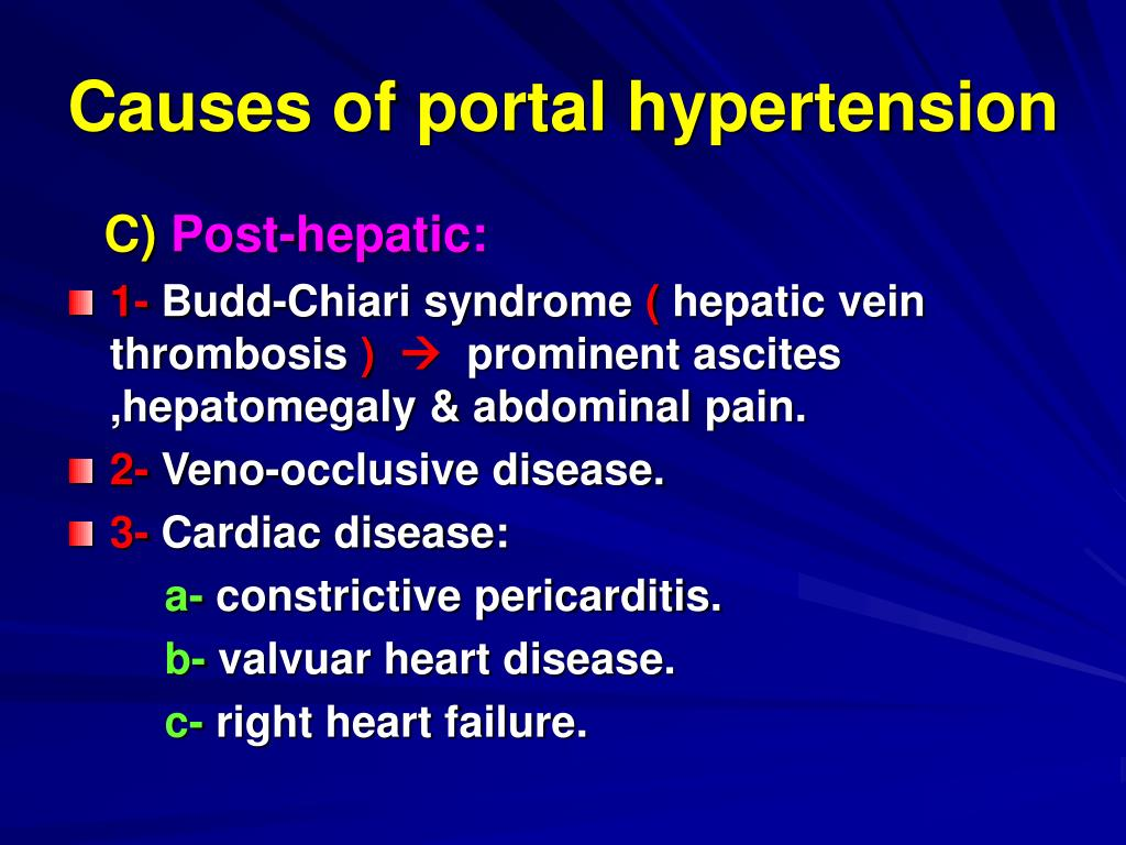 Causes of portal hypertension