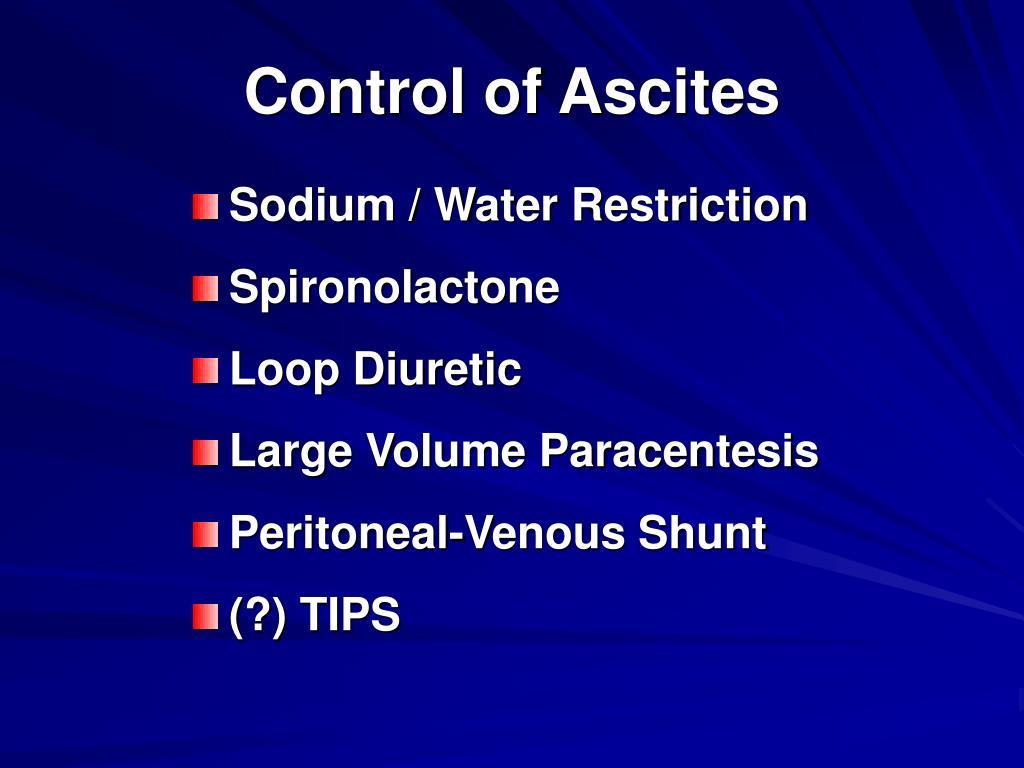 Control of Ascites