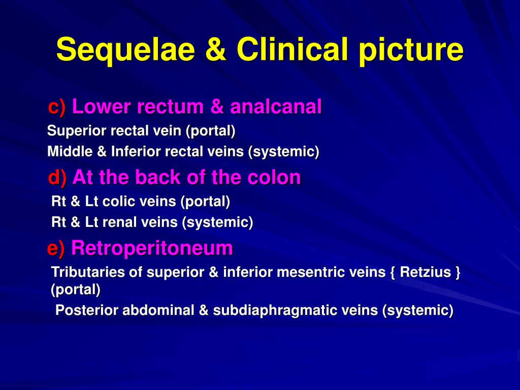 Sequelae & Clinical picture