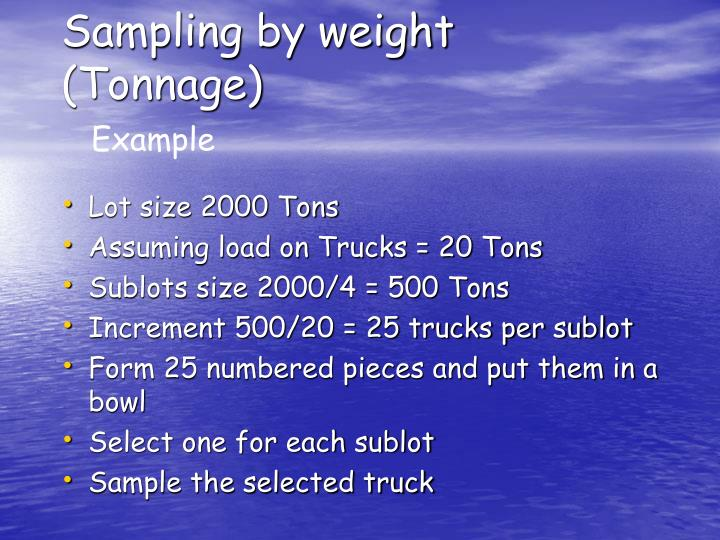 Sampling by weight (Tonnage)