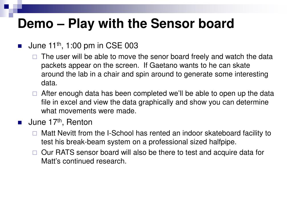Demo – Play with the Sensor board