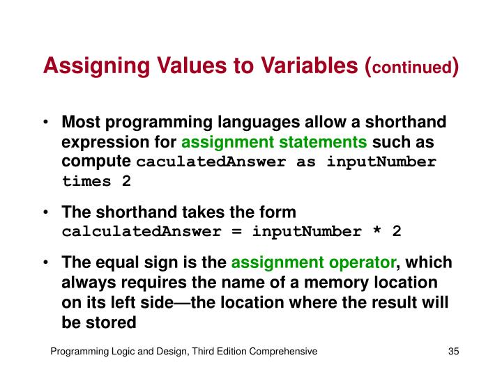 Assigning Values to Variables (