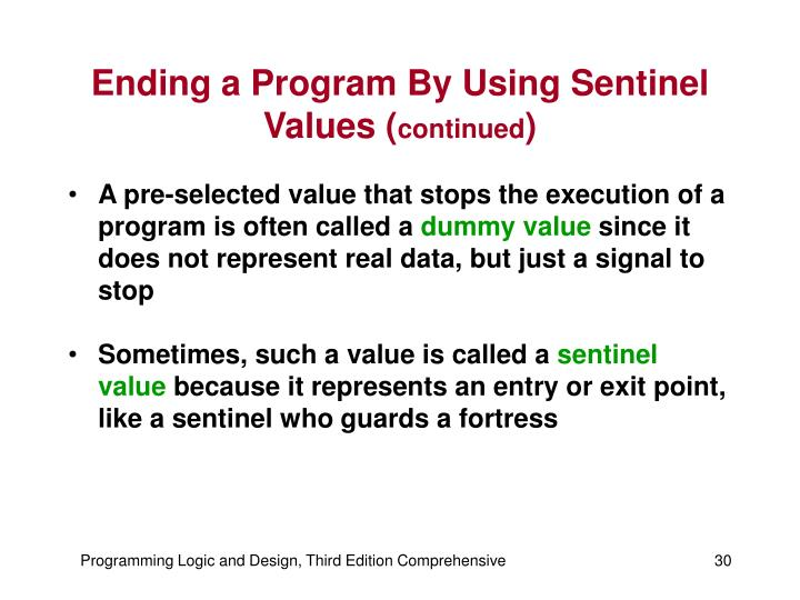 Ending a Program By Using Sentinel Values (