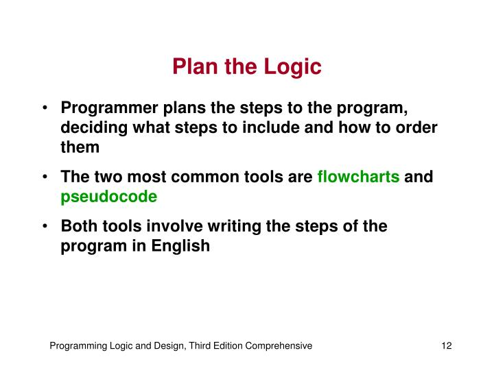 Plan the Logic