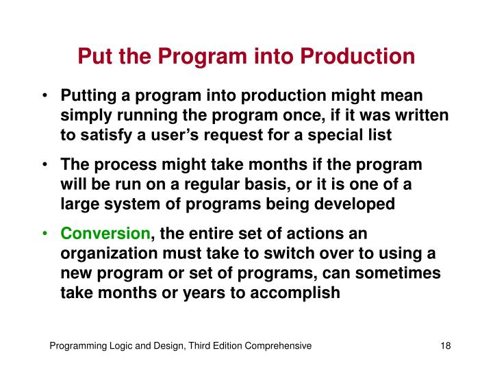 Put the Program into Production