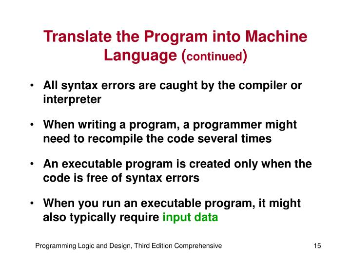 Translate the Program into Machine Language (