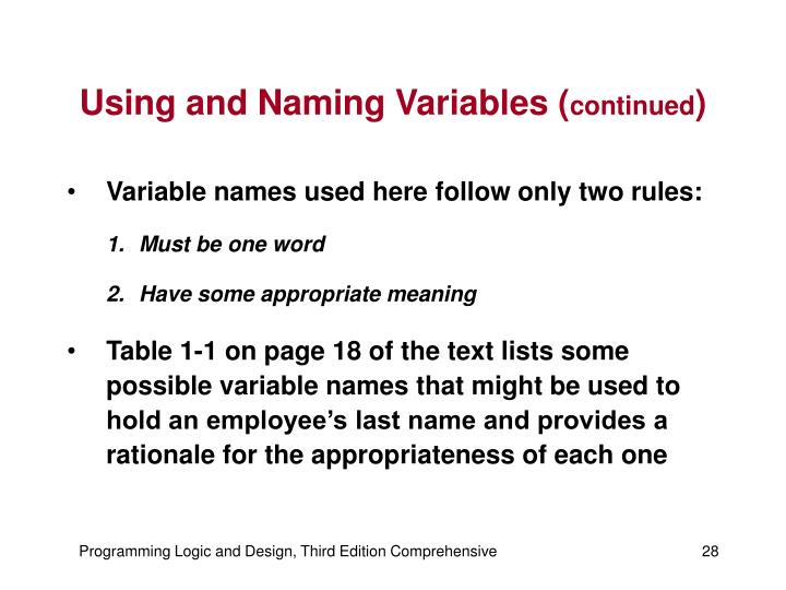 Using and Naming Variables (