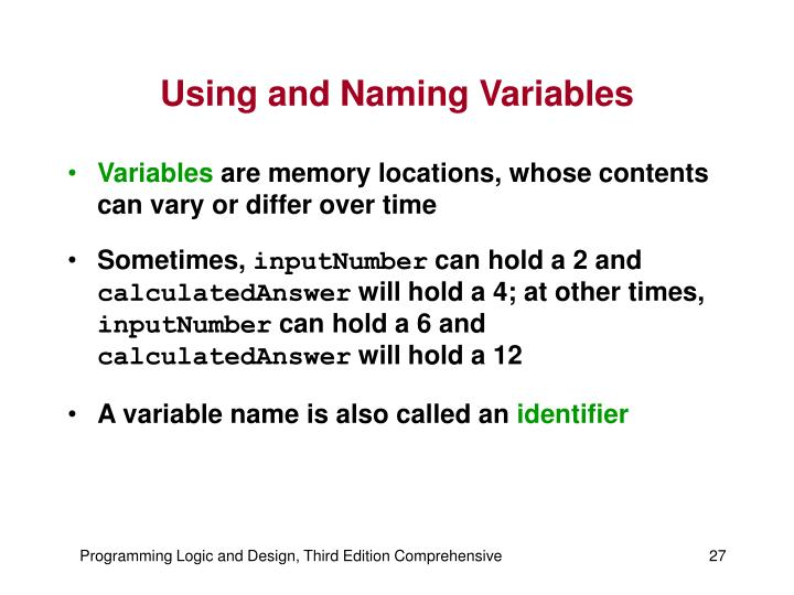 Using and Naming Variables