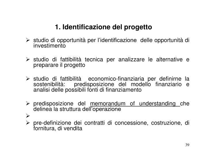 1. Identificazione del progetto
