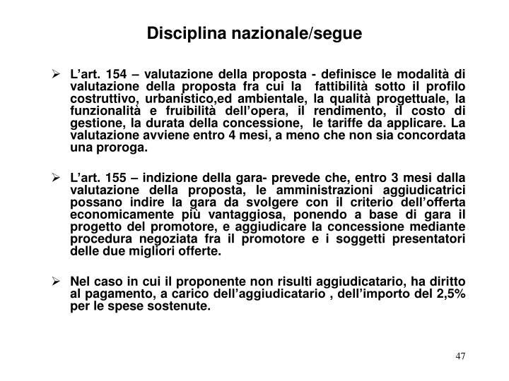 Disciplina nazionale/segue