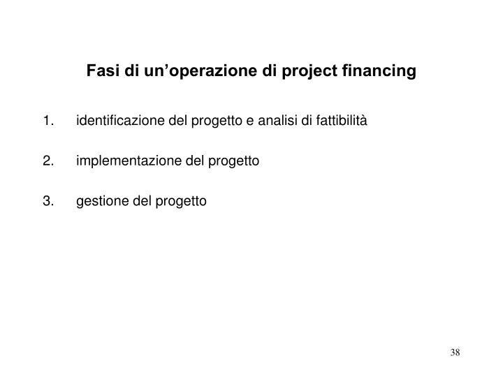 Fasi di un'operazione di project financing