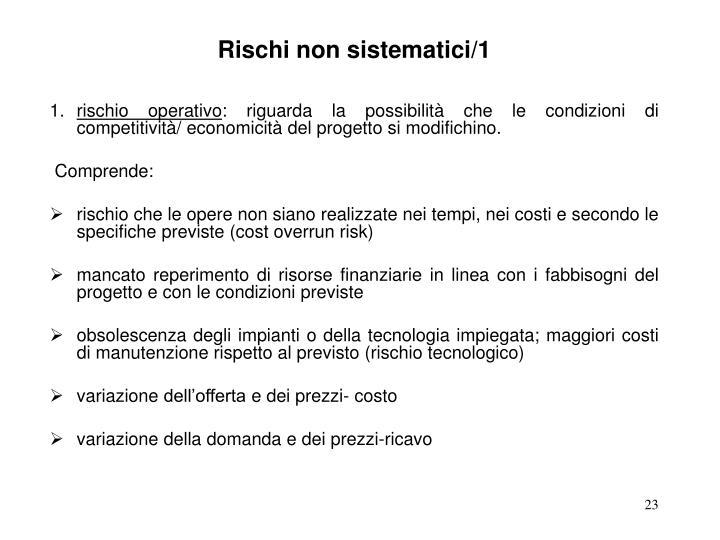 Rischi non sistematici/1
