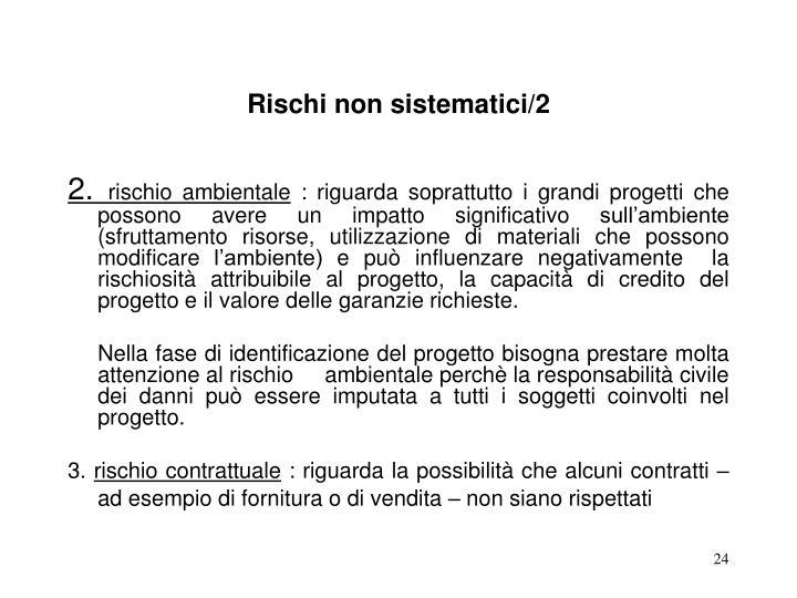 Rischi non sistematici/2