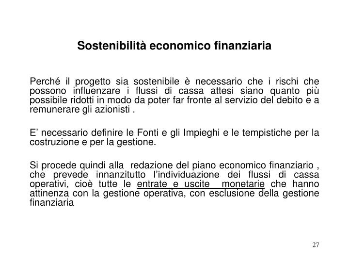 Sostenibilità economico finanziaria