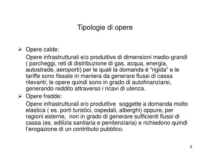 Tipologie di opere