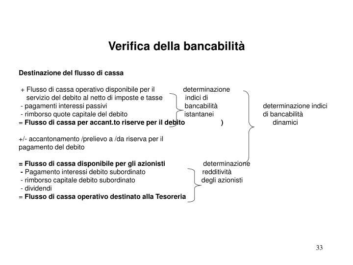 Verifica della bancabilità