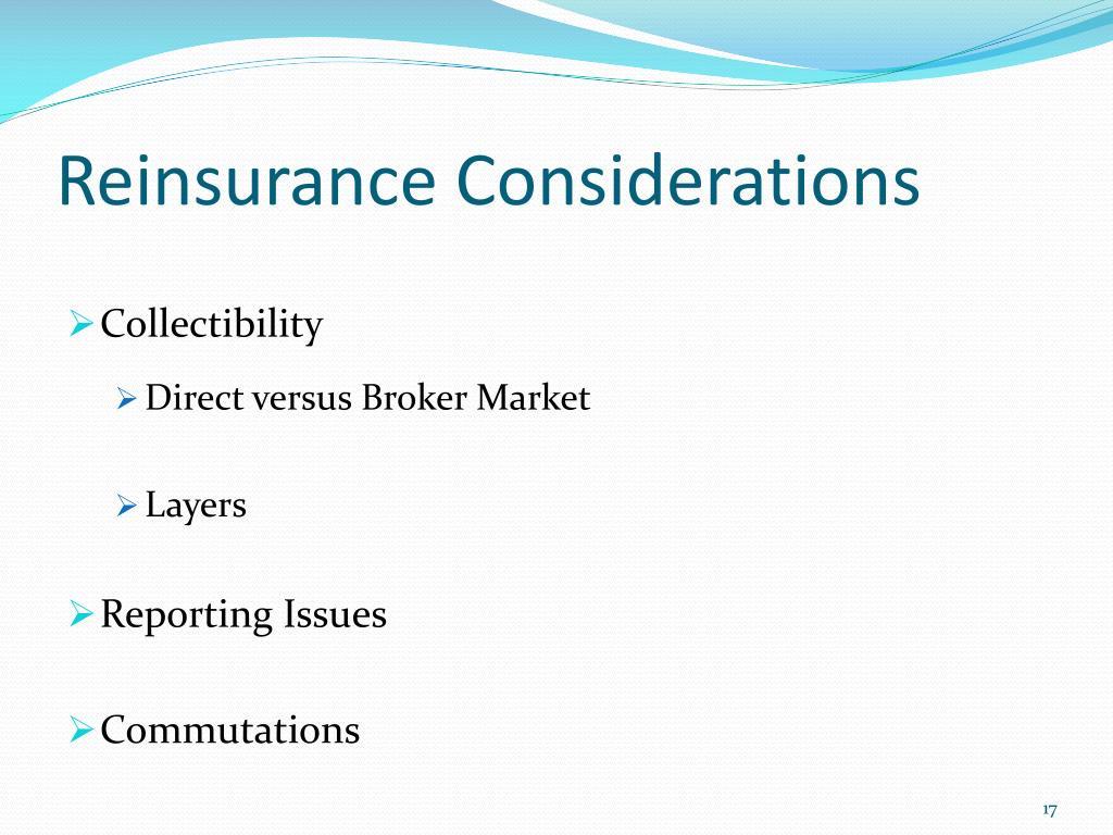 Reinsurance Considerations