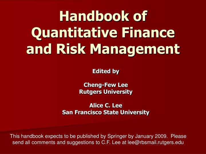 Handbook of quantitative finance and risk management l.jpg