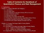 table of contents for handbook of quantitative finance and risk management10