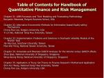 table of contents for handbook of quantitative finance and risk management18