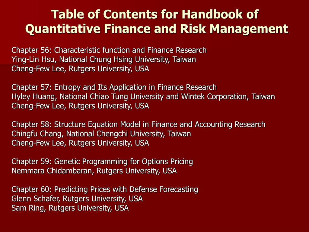Table of Contents for Handbook of
