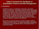 table of contents for handbook of quantitative finance and risk management30