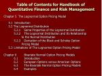table of contents for handbook of quantitative finance and risk management7