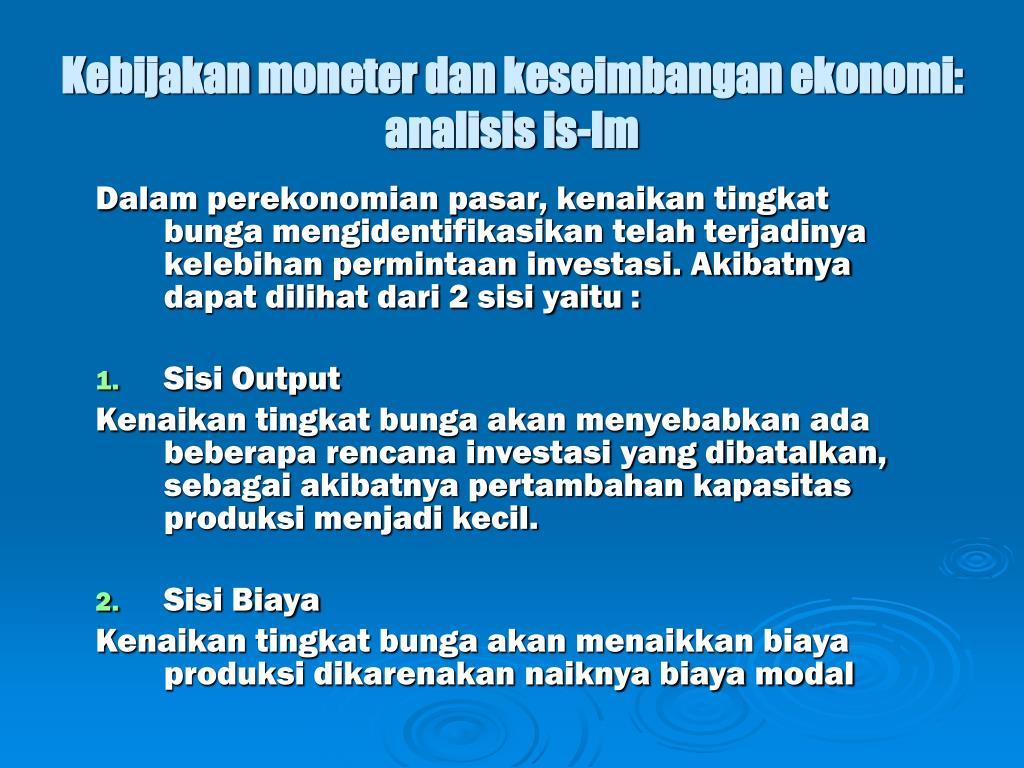 Kebijakan moneter dan keseimbangan ekonomi: analisis is-lm