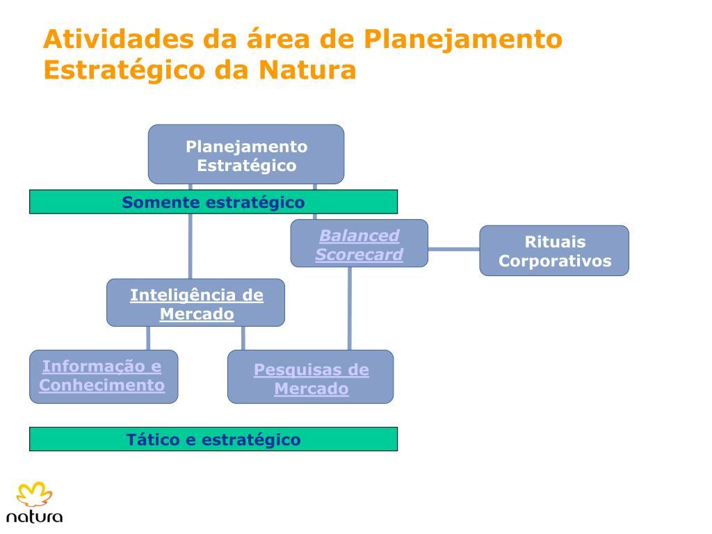 Atividades da área de Planejamento Estratégico da Natura
