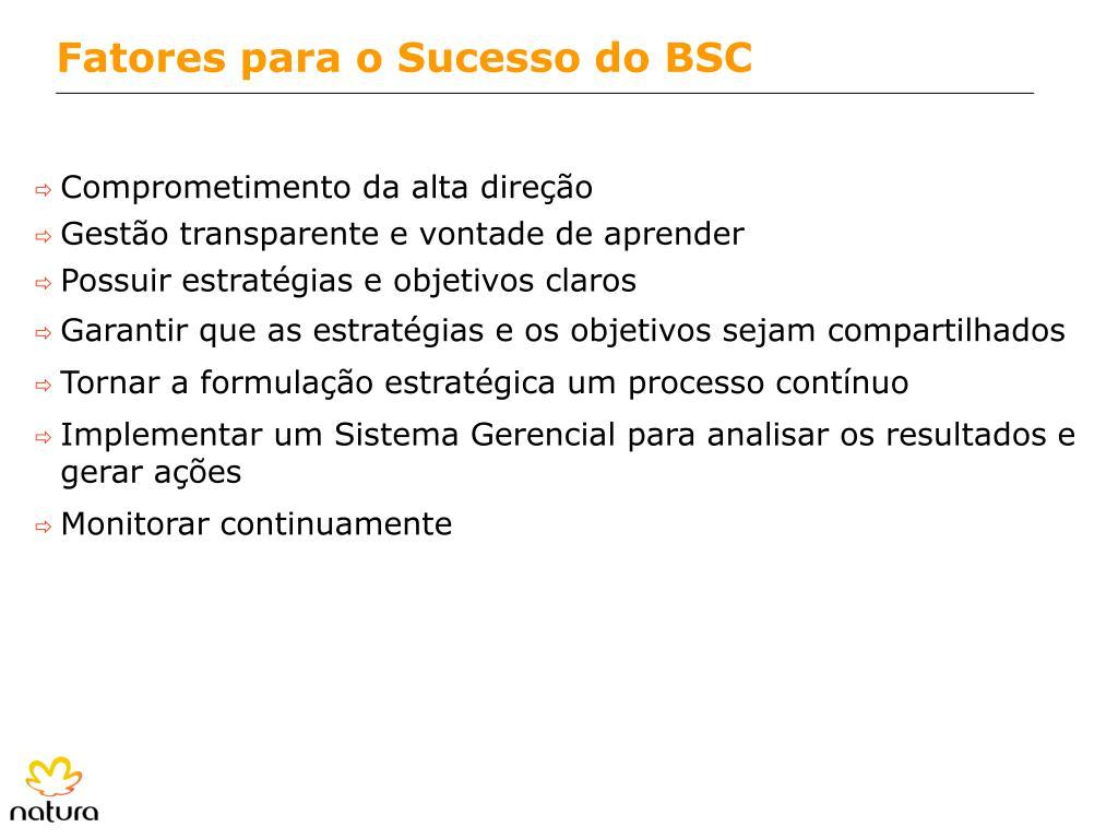 Fatores para o Sucesso do BSC