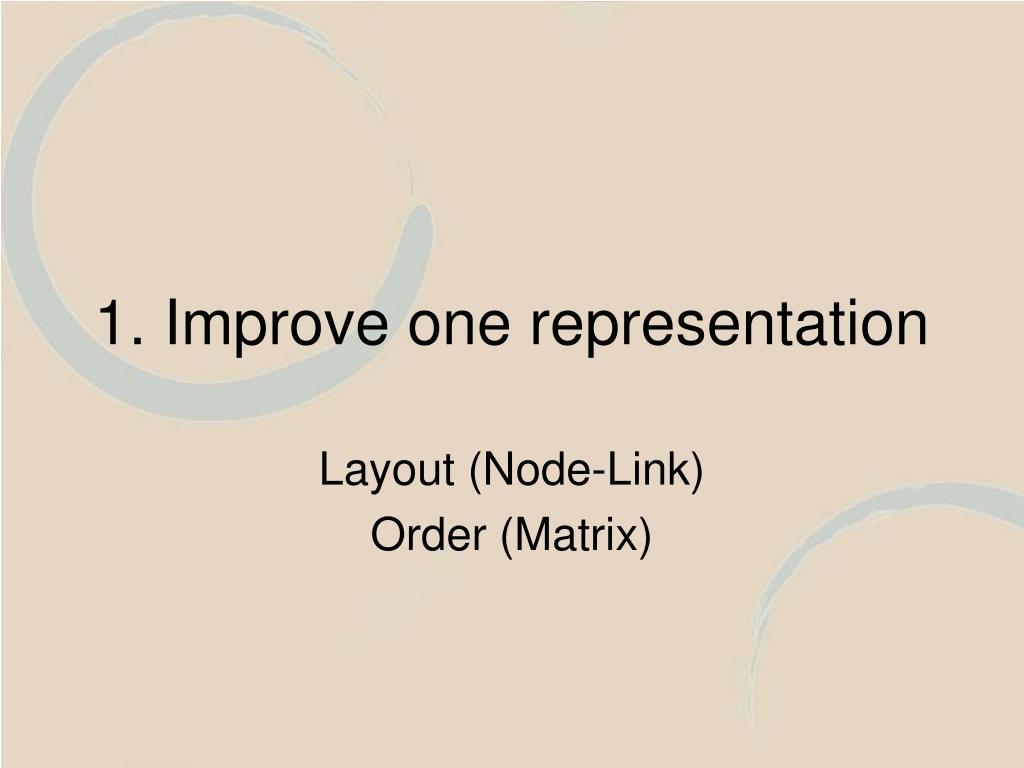 1. Improve one representation