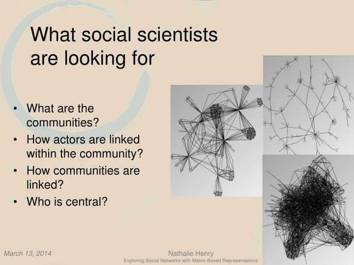 What social scientists are looking for