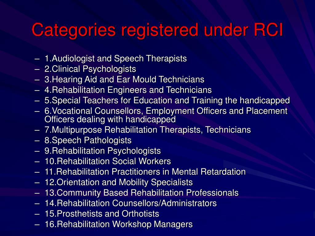 Categories registered under RCI