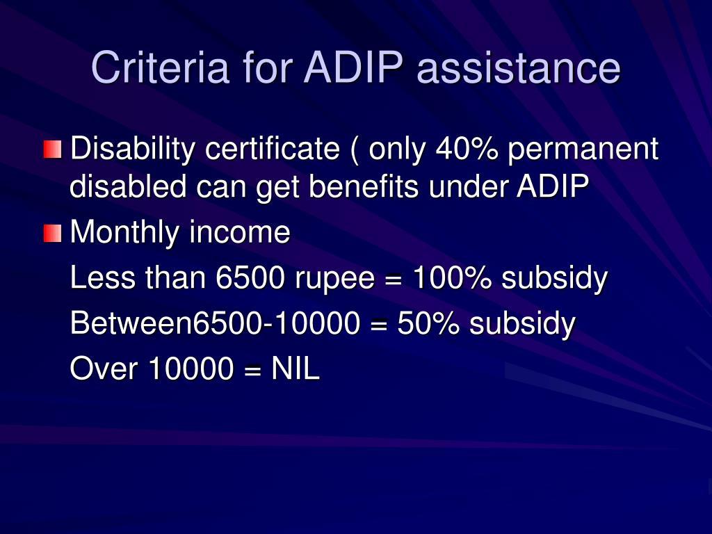 Criteria for ADIP assistance