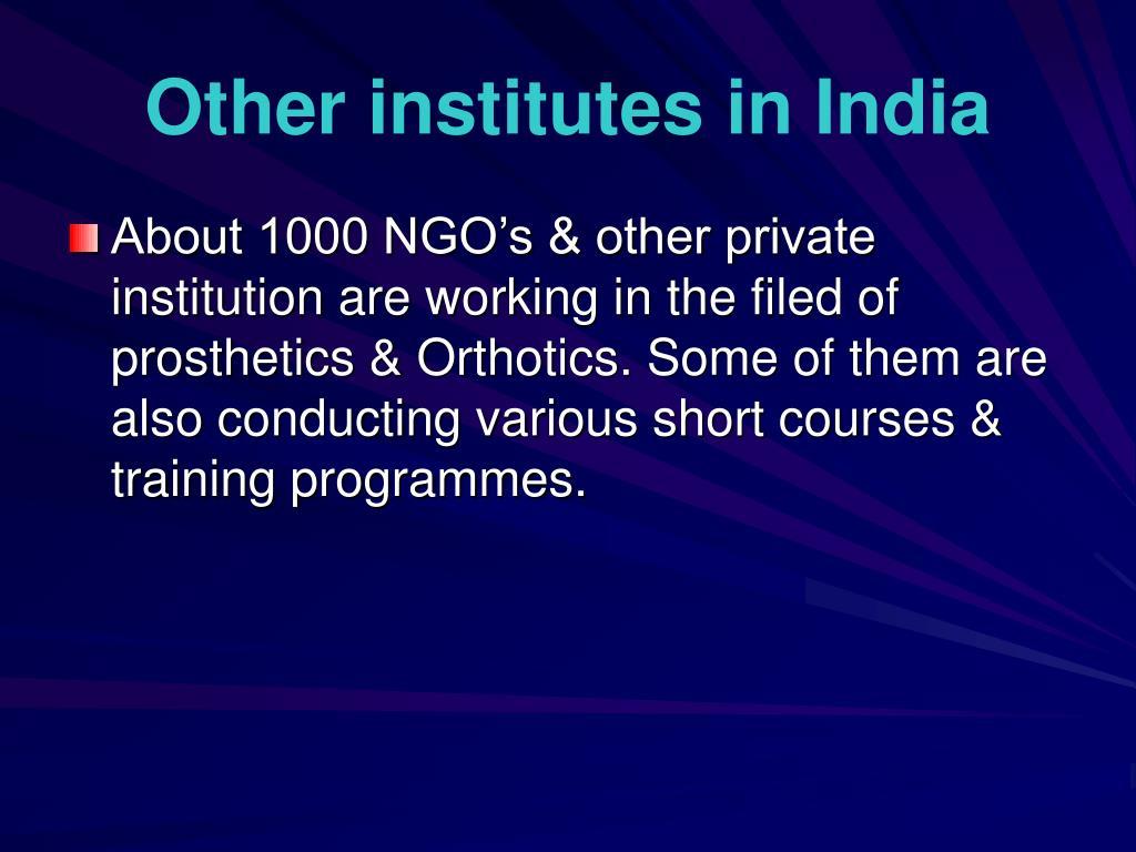 Other institutes in India