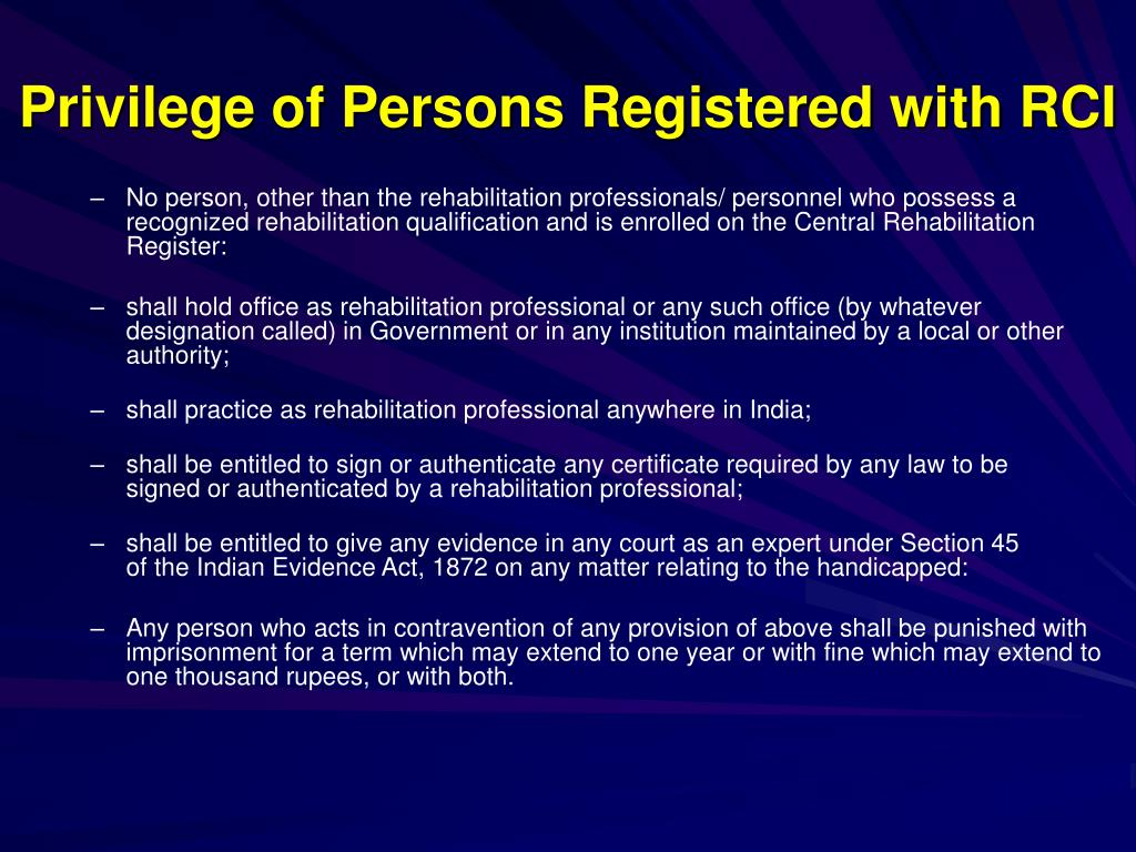 Privilege of Persons Registered with RCI