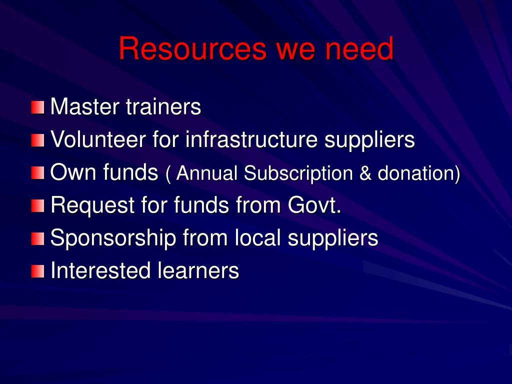 Resources we need
