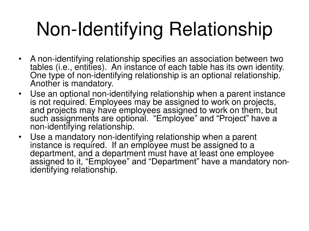 Non-Identifying Relationship