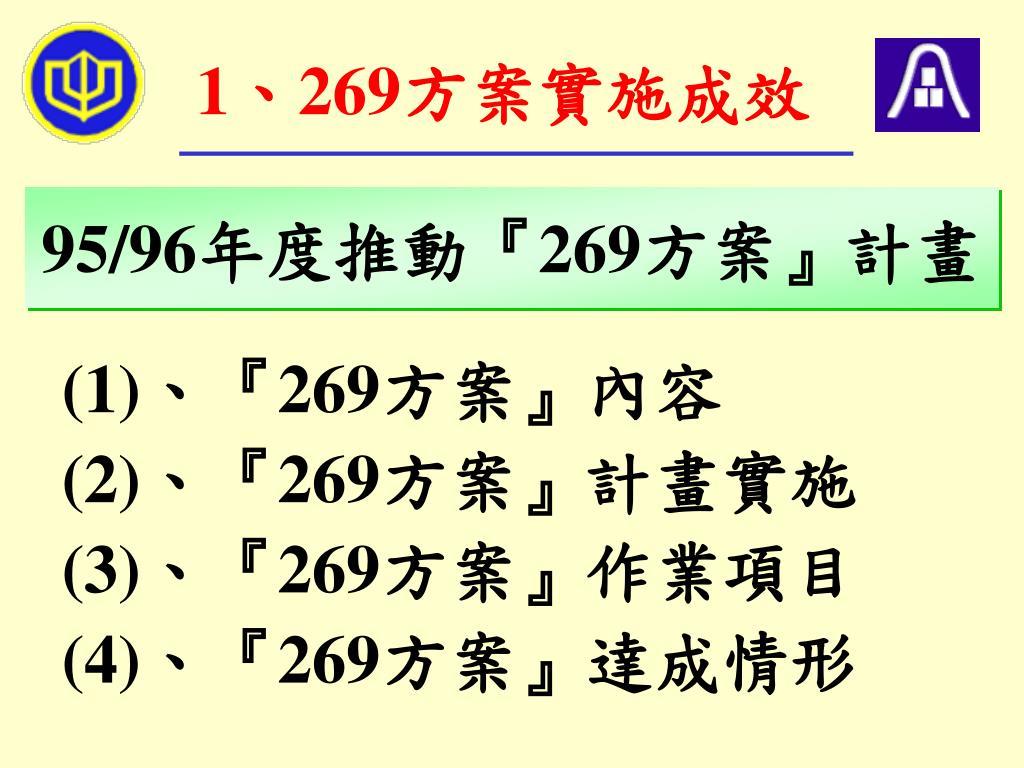 1、269方案實施成效