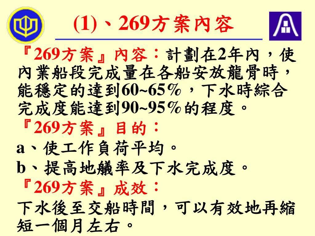 (1)、269方案內容