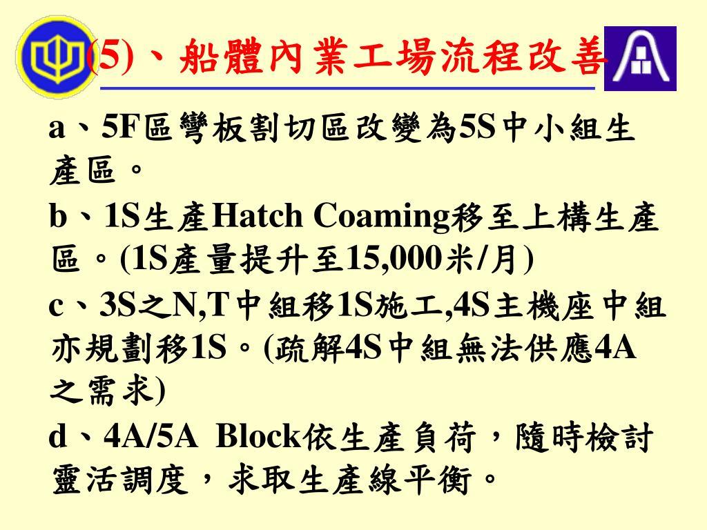 (5)、船體內業工場流程改善
