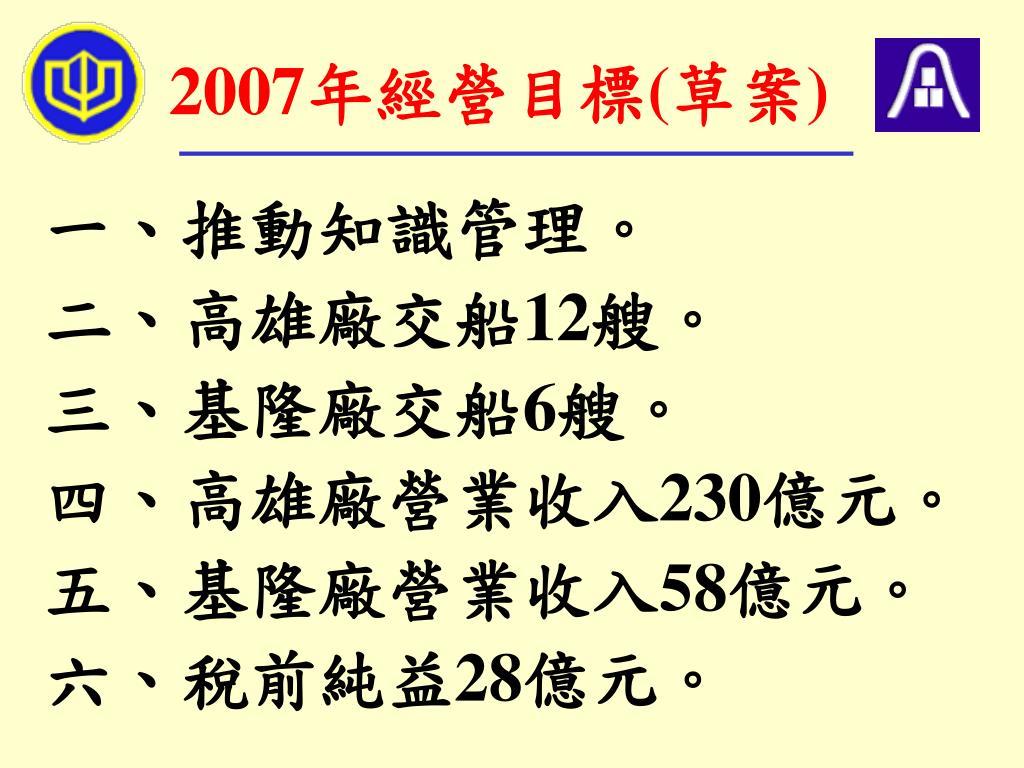 2007年經營目標(草案)